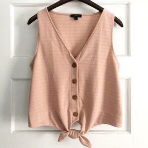 J CREW like new! Cream/light pink ribbed tank top